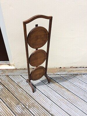 Vintage Antique Folding Three Tier Solid Oak Cake Stand