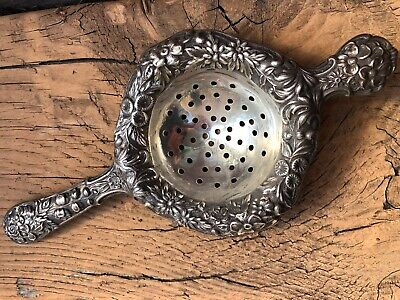 Antique Kirk & Son Repousse Sterling Silver Tea Strainer