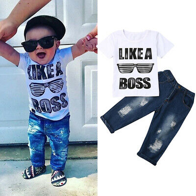 Toddler Baby Boy Casual t Shirt Tops+Ripped Jeans Pants 2PCS Outfits Clothes Set