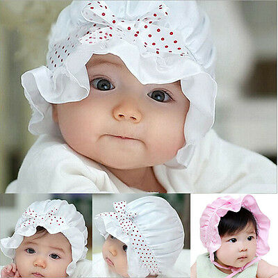 2-12 Months Newborn Baby Girl Hat Cute Beanie Hat Polka Dots Pattern Summer