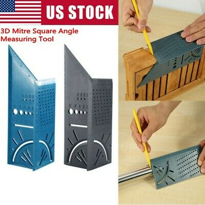 3D Mitre Square Angle Measuring Woodworking Tool with Gauge and 45°/90° Rulers