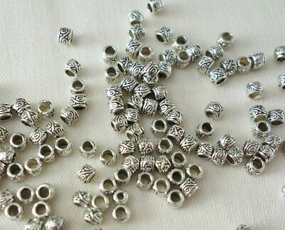 50 Antique Silver Coloured 3mmx3mm Patterned Spacer Beads (2mm Hole) #sp0157