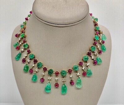 14k Solid Gold Necklace Carved Colombian Emerald Genuine Diamond Ruby Vintage
