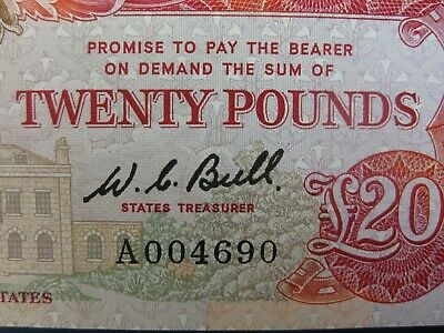 SCARCE 1980 GUERNSEY A FIRST SERIES (BULL) £20 BANKNOTE FRESH aUNC/UNC
