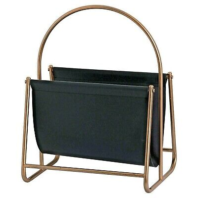 Modern MAGAZINE RACK book holder floor standing with handle copper colour frame