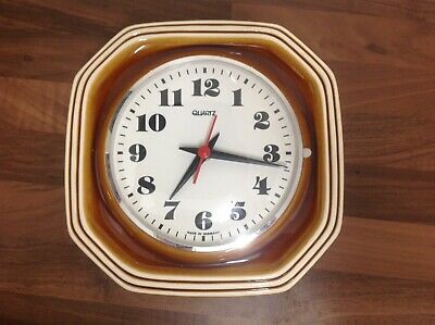 West German Pottery Ceramic Wall Clock 60S 70S Vintage Retro Fat Lava MCM