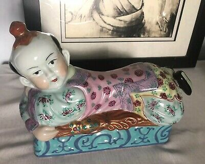 "1950's? Chinese Enamel Porcelain 11""x7.5"" Pillow Figure/Man Headrest"