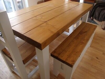 Solidwoodcraft Berkshire Solid Thick Wood Farmhouse Dining Table With Without Benches You Choose The Colour And Size 4ft 0 Benches Dining Room Furniture Dining Tables