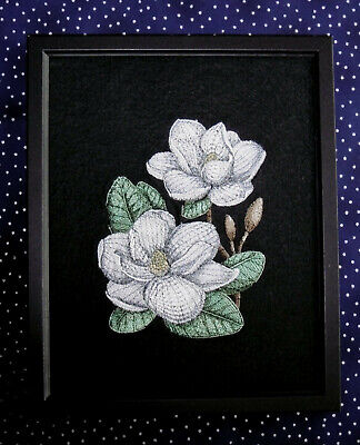 Magnolia Blooms - Framed Embroidery