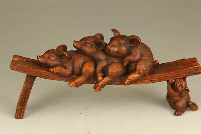 rare chinese old boxwood hand carved pig statue collectable ornament netsuke