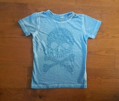 NEXT Boys Blue Distressed Rock and Roll Skull Graphic T Shirt Top 5 Years