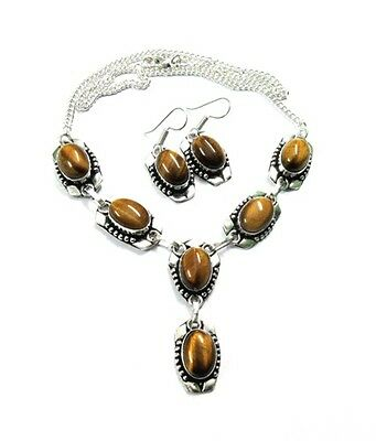 Natural AAA Brown Tiger Eye Gems Silver Plated Necklace Earring Jewelry Set