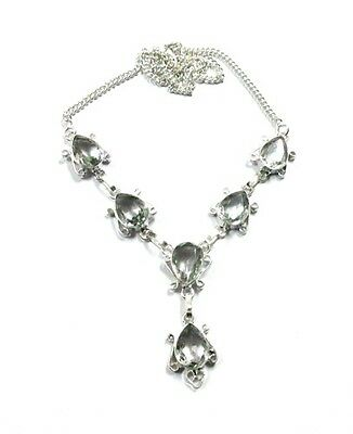 Wonderful! White Topaz Quartz Gemstone 925 Silver Plated Necklace Earring Set