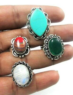 Moonstone,Turquoise,Rainbow Chalcedony,Green Onyx 925 Silver Plated 4 Pcs Ring