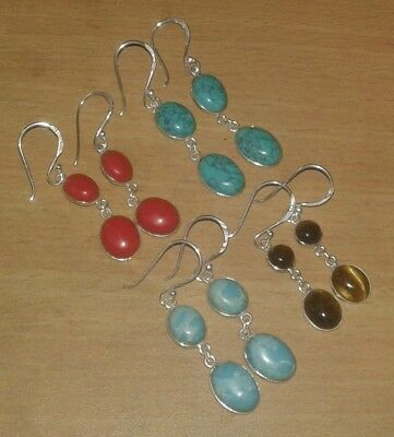 Awesome! Turquoise,Larimar,Tiger Eye & Coral Silver Plated 4 Pcs Dangle Earrings