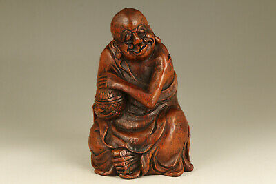 big unique chinese old bamboo root hand carved buddha monk statue
