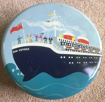 Carrs Bon Voyage Biscuit Tin very good bright Liner picture 1920s-30s Art Deco