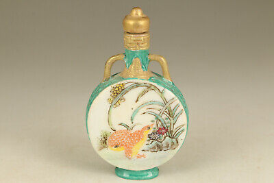 chinese old porcelain hand painting bird snuff bottle