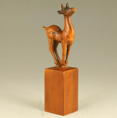 rare old boxwood hand carved deer statue figure seal collectable stamp gift