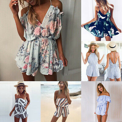 New Womens Boho Off Shoulder Playsuit Culottes Holiday Jumpsuit Clubwear Romper