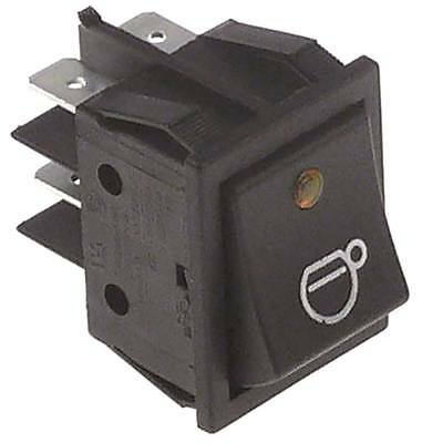 Rocker Switch for Espresso Machine with LED 2-pin 250V 2NO Yellow Lighted