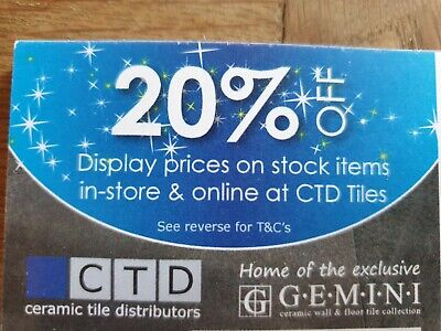 CTD Tiles Discount 20% off in store and online vouchers
