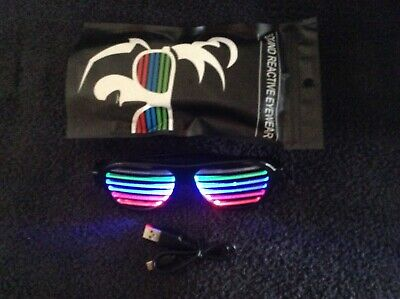 LED Rave Sunglasses Sound Activated with Rechargeable Battery (Incl. USB  Cable)