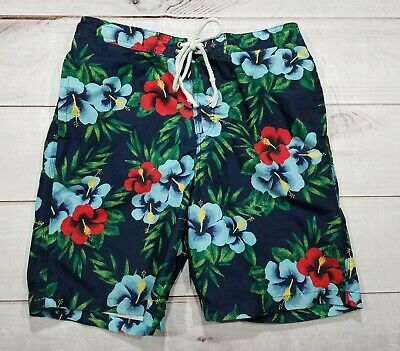 3499979619 Merona Shorts Mens Swim Trunks Suit Surfers Floral Pattern Size M 32