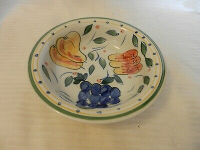 White Hand Painted Ceramic Cereal Soup Bowl From Gibson Grapes, Pears Design