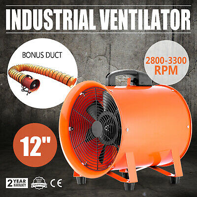 "12"" 300MM Cyclone Dust Fume Extractor / Ventilation Fan + 5M PVC Ducting"