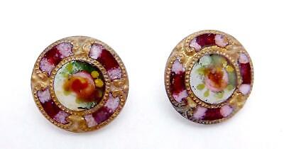 Antique Victorian Brass Enamel Rose Pair of Small Buttons 24681