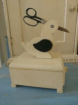 SEWING BIRD BOX rare Vintage Wood Caddy with Drawer antique wooden
