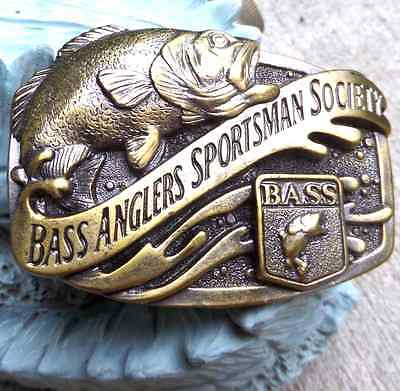 New Vintage Bass Anglers Sportsman Society Brass Colour Mens Belt Buckle