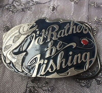 1985 Great American Buckle Co. 'i'd Rather Be Fishing' Mens Belt Buckle