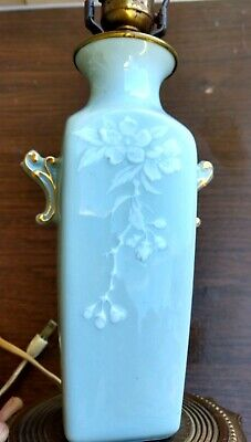 Antique leviton Vase lamp floral/blue