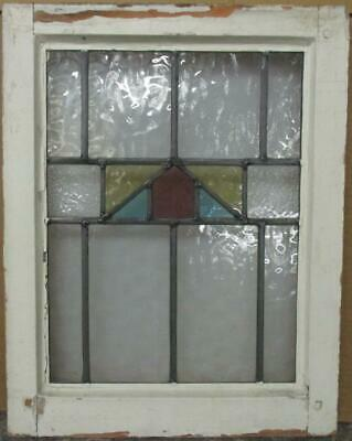 "OLD ENGLISH LEADED STAINED GLASS WINDOW Gorgeous Geometric Band 16.25"" x 20.5"""