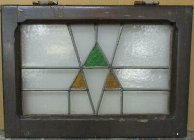 "OLD ENGLISH LEADED STAINED GLASS WINDOW Pretty Geometric Design 20.5"" x 14.5"""
