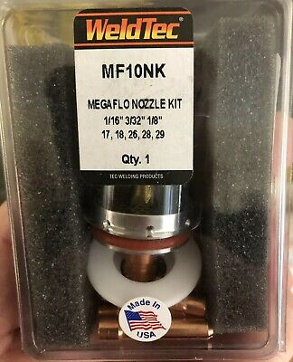 Weldtec Tig Pyrex Cup Gas Lens Kit MF10NK Suit 17/26 Torches Megaflo
