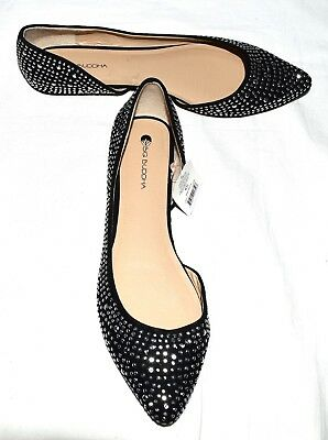 BIG BUDDHA Black Fabric Covered with Silver Studs Womens Flats Size 9.5 M NWOT