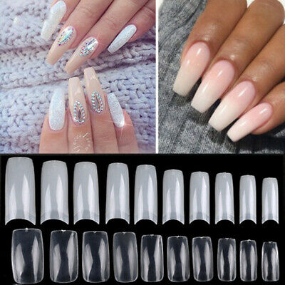 100Pcs Coffin Nails Nail Tips Long Square French Fake False Nails Transparent