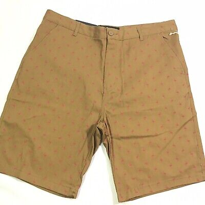 NEW Brooklyn Mens Shorts 34 36 38 Brown Flamingo Flat Front Twill Stretch