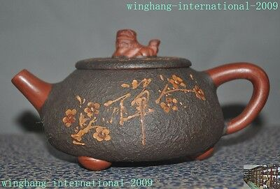 Chinese yixing zisha Pottery Carving Foo dog Plum flower 禅 Teapot pot tea maker