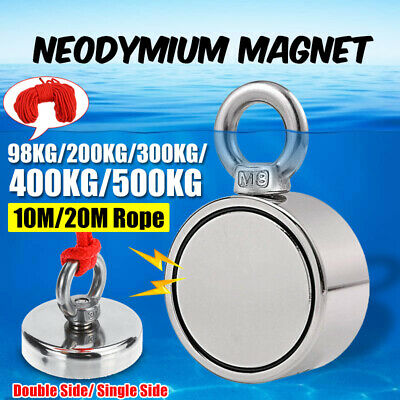 D 48mm-80mm 98KG-500KG Strong Neodymium Magnet Recovery Fishing Tool 10/20M Rope