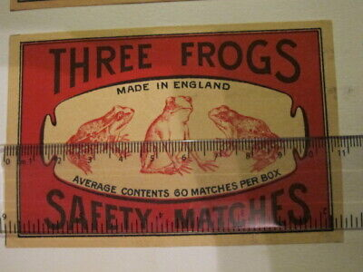 Vintage Three Frogs Safety Matches - Large Label - Made in England