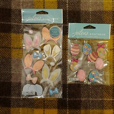 Easter Scrapbooking Stickers Lot Jolees Bunny Ears Easter Eggs Cute