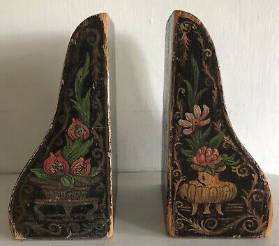 Antique Pair Of Decorative Hand Painted  Pine Bookends