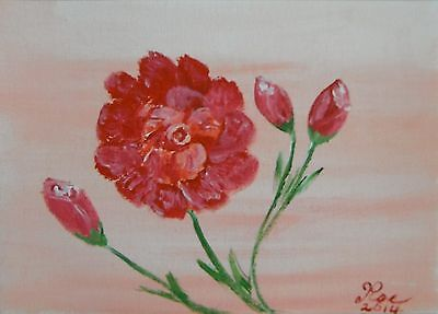 Red Rose  Original Acrylic painting  on A5 Canvas  sheet signed by Artist