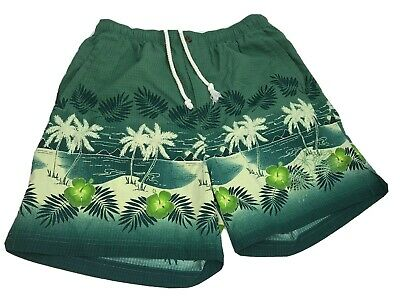 ce116a8b34e2c Tommy Bahama Mens Medium Grn Hawaiian Print Mesh Lined Swim Trunks Shorts  Pocket