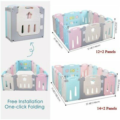 14/16 Panel Safety Play Center Yard Baby Playpen Kids Home Indoor Outdoor Pen US