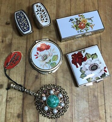 50's Metal Compact Lipstick Holder Pillbox Mixed Lot Crafter Upcycling Vintage